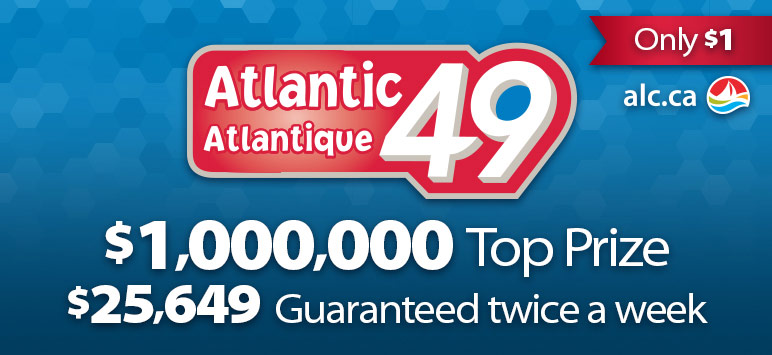 Atlantic 49 - Only $1 - alc.ca - $1,000,000 Top Prize - $25,649 Guaranteed twice a week