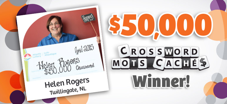 $50,000 Crossword Winner! - Helen Rogers, Twillingate, NL