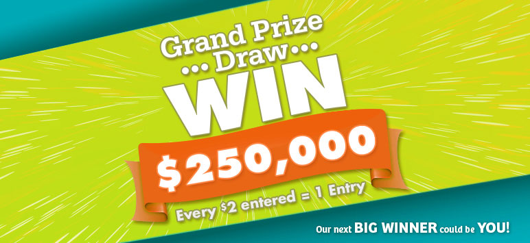 Contest Closes March 31, 2016. Grand Prize Draw, Win $250,000 - Every $2 entered = 1 entry. Our next big winner could be you!