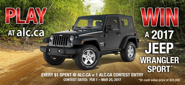 Play at alc.ca - Win a 2017 Jeep Wrangler Sport